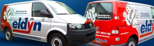 Chemnitzer Elektromaschinenbauer eldyn ab sofort mit Fahrzeugvollfolierung der Future Werbeagentur auf Chemnitzer Straßen im Einsatz