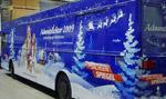 Bus-Beschriftung für die Weihnachts-Promotion-Tour des MDR Sachsen Spiegel